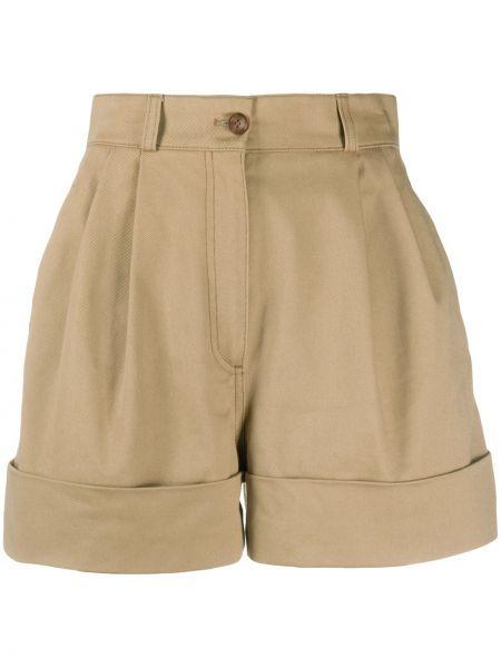 Однобортные коричневые шорты с карманами Miu Miu