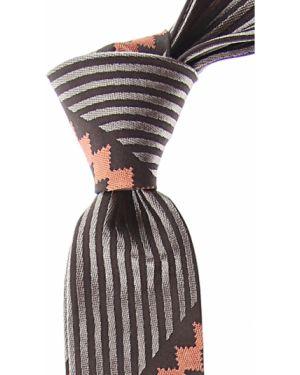 Beżowy krawat w paski z jedwabiu Christian Lacroix