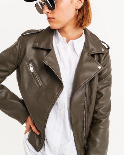 Кожаная куртка на молнии - хаки Befree