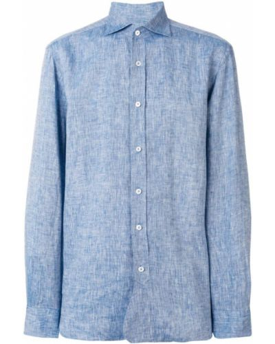 Синяя классическая льняная классическая рубашка на пуговицах Doppiaa