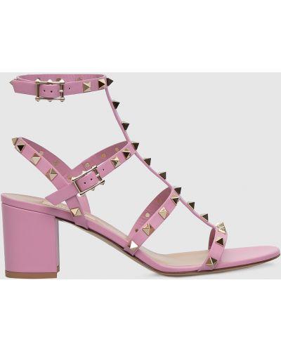 Фиолетовые кожаные босоножки Valentino