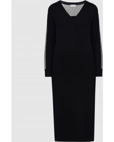 Шерстяное черное платье миди Red Valentino