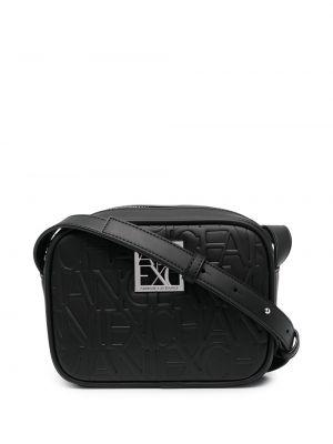 Черная кожаная сумка через плечо на молнии Armani Exchange