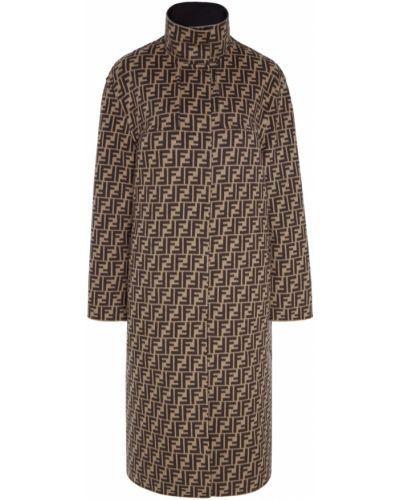 Кожаное пальто на кнопках с принтом Fendi