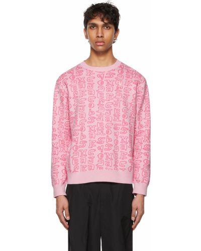 Różowy długi sweter bawełniany z haftem Marc Jacobs