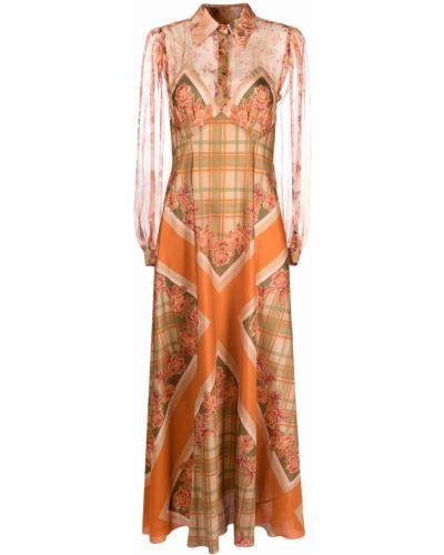 Платье макси с длинными рукавами - оранжевое Alberta Ferretti