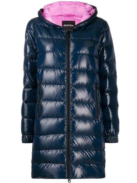 Klasyczny niebieski płaszcz z kapturem Duvetica