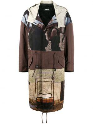 Коричневое длинное пальто с капюшоном на молнии Undercover