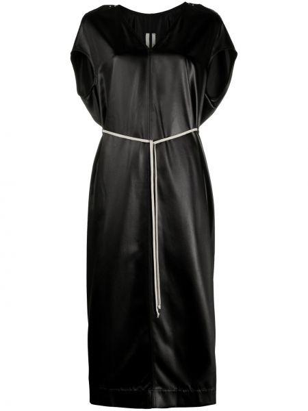 Czarny sukienka midi z dekoltem w szpic krótkie rękawy Rick Owens