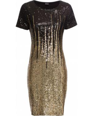 Платье мини с пайетками с вырезом Bonprix
