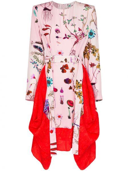 Платье с поясом розовое с цветочным принтом Stella Mccartney