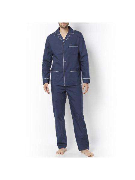 Пижамная синяя пижама на пуговицах с карманами La Redoute Collections