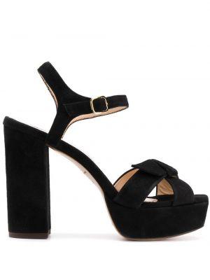 Массивные открытые черные босоножки на высоком каблуке на каблуке Tila March