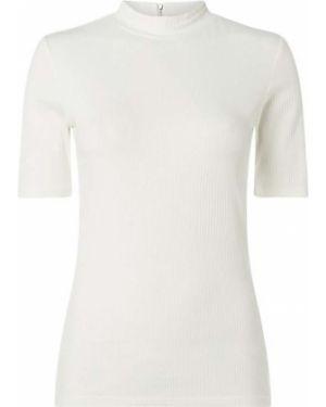 Biała bluzka z haftem z wiskozy Hugo
