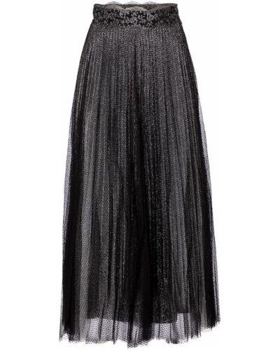 Плиссированная черная юбка макси из фатина Christopher Kane
