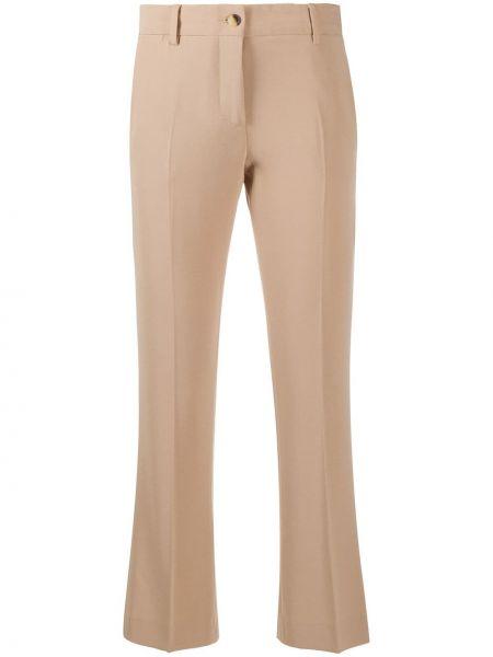 Коричневые укороченные брюки на молнии Alberto Biani