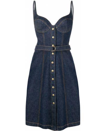 Синее джинсовое платье с вырезом на пуговицах Philosophy Di Lorenzo Serafini