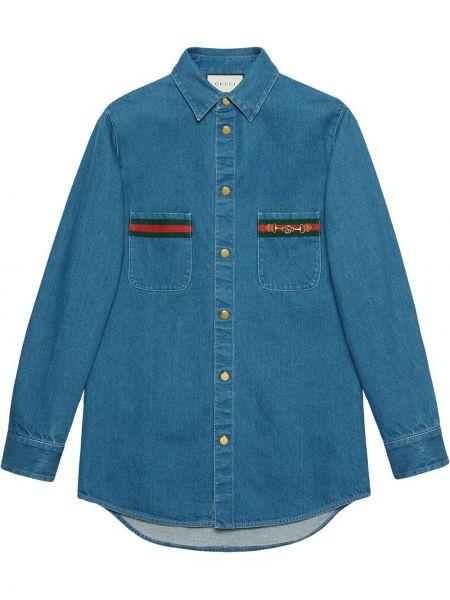 Niebieska koszula jeansowa bawełniana z długimi rękawami Gucci