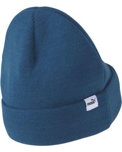 Синяя шапка бини с отворотом с надписью Puma