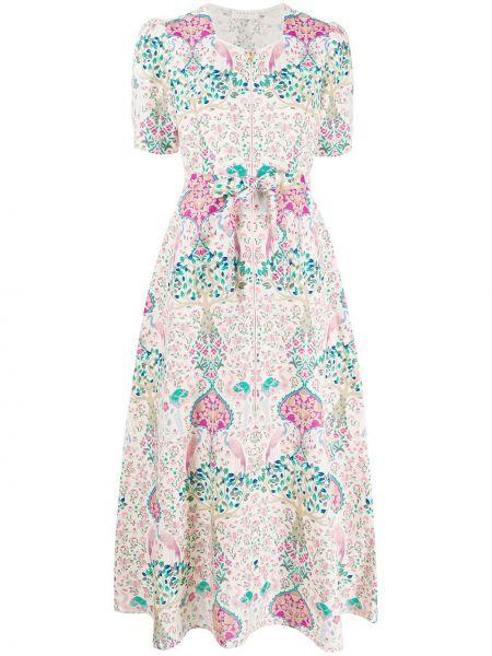 Платье льняное с цветочным принтом Sandro Paris
