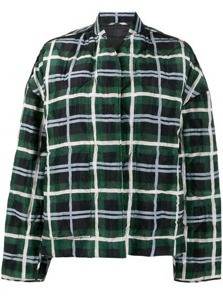 Зеленая стеганая куртка в клетку Christian Wijnants