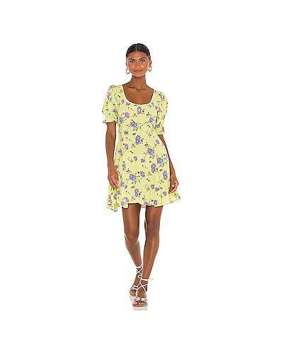 Желтое шелковое платье мини на молнии Faithfull The Brand