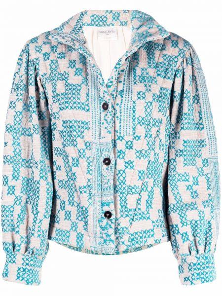 Синяя длинная куртка Forte Forte