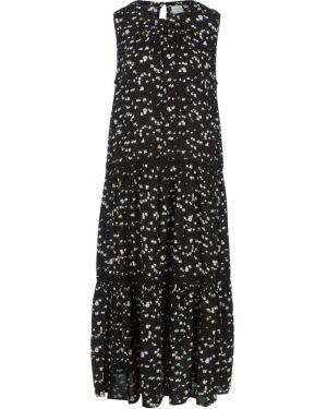 Платье с цветочным принтом черное Ichi