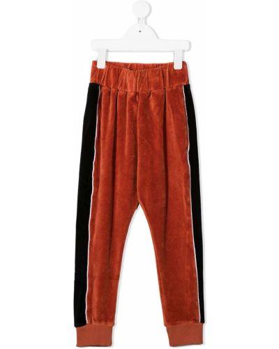 Бархатные оранжевые брюки с нашивками с манжетами Wolf & Rita