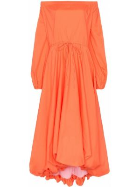 Платье миди из поплина с карманами Staud