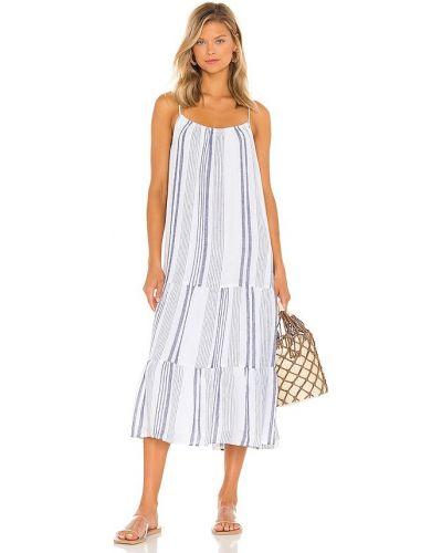 Льняное платье миди - белое Rails