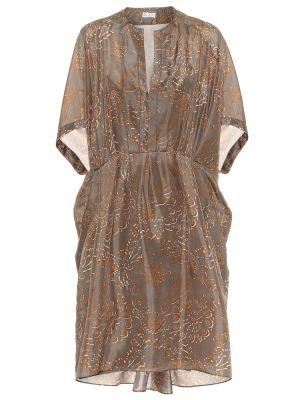 Теплое платье шелковое с принтом Brunello Cucinelli