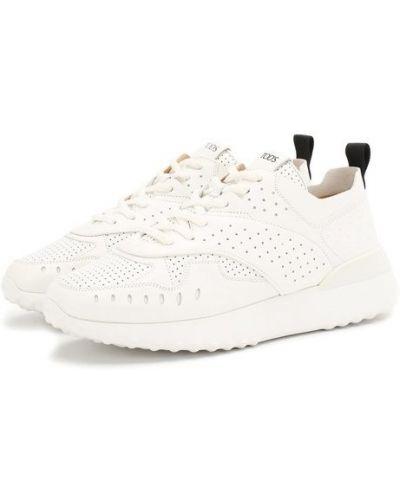Белые кожаные кроссовки с перфорацией Tods