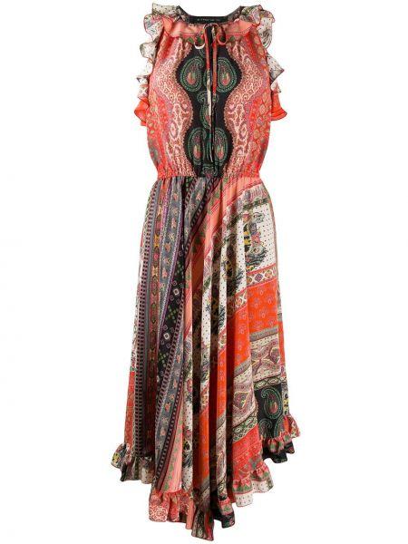Платье с поясом с рукавами с вырезом Etro