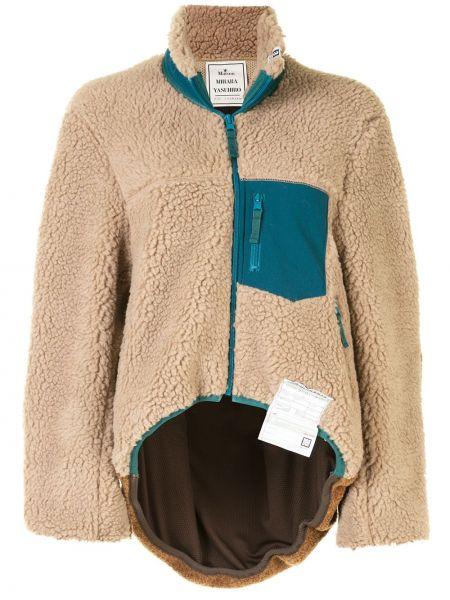 Флисовая коричневая куртка на молнии Maison Mihara Yasuhiro
