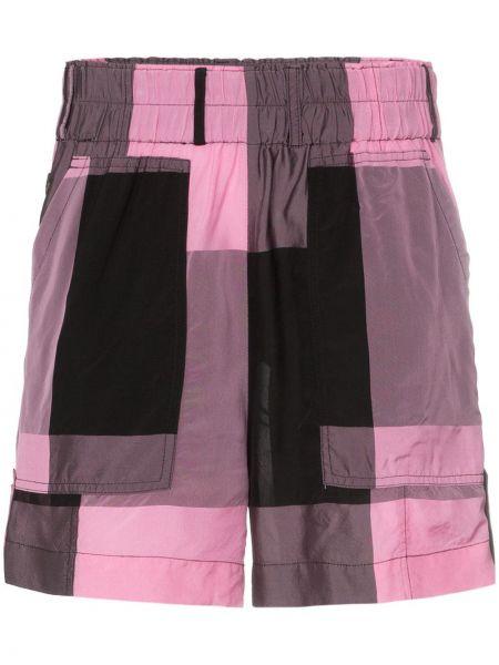 Спортивные шорты в клетку с карманами Ganni