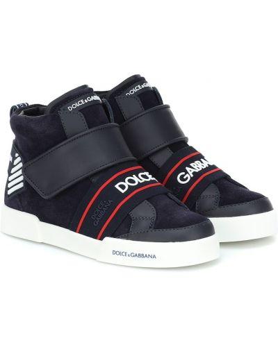 Z paskiem niebieski sneakersy rzep z prawdziwej skóry Dolce & Gabbana Kids