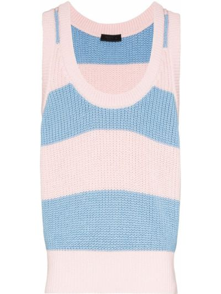 Niebieski top w paski bawełniany Prada