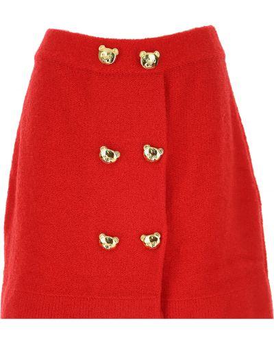 Czerwona spódnica zapinane na guziki Moschino