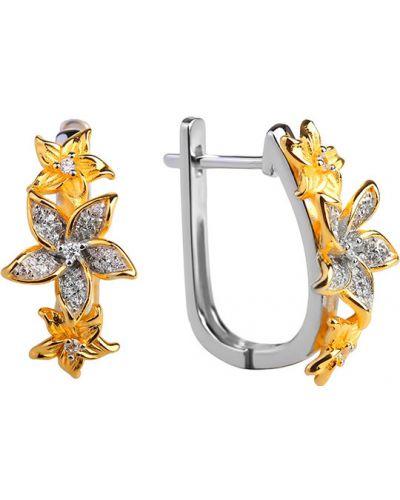 Серебряные серьги золотые позолоченные Sandara