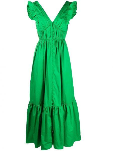 С завышенной талией зеленое платье с вырезом Self-portrait