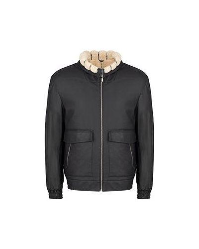 Черная кожаная куртка Zilli