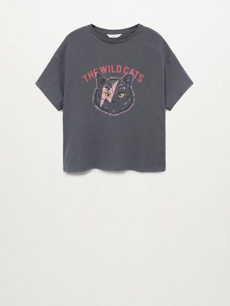 Серая прямая футболка с вырезом Mango Kids