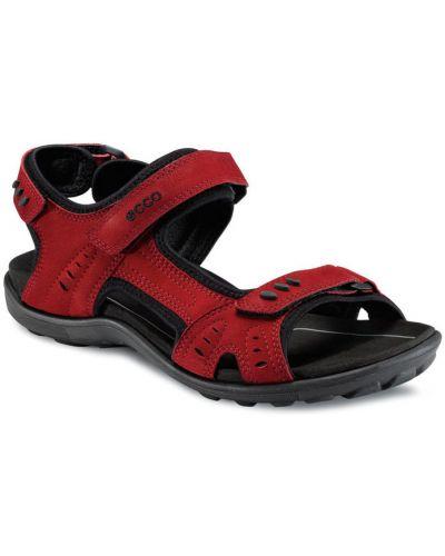 Спортивные сандалии красные на каблуке Ecco
