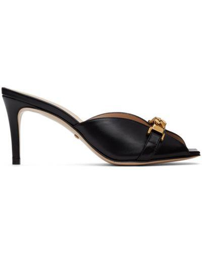 Czarne złote sandały Gucci