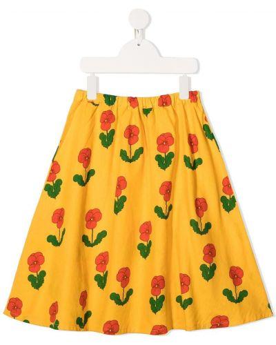 Желтая прямая юбка мини с поясом Mini Rodini