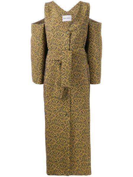 Платье с поясом с вышивкой на пуговицах Henrik Vibskov