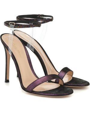 Замшевые туфли черные зеленый Gianvito Rossi
