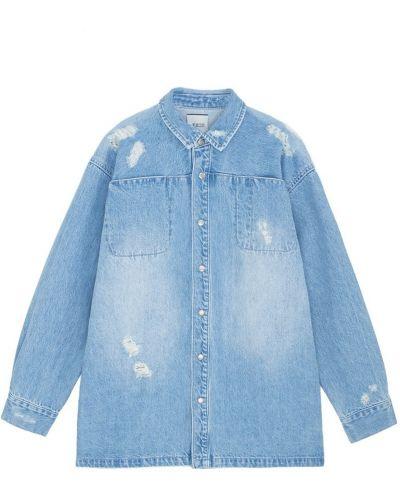 Хлопковая синяя джинсовая рубашка на кнопках Edit
