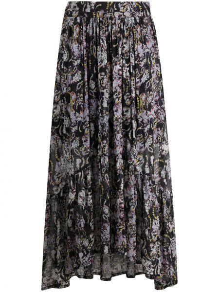 Черная расклешенная юбка миди с вышивкой из вискозы Iro